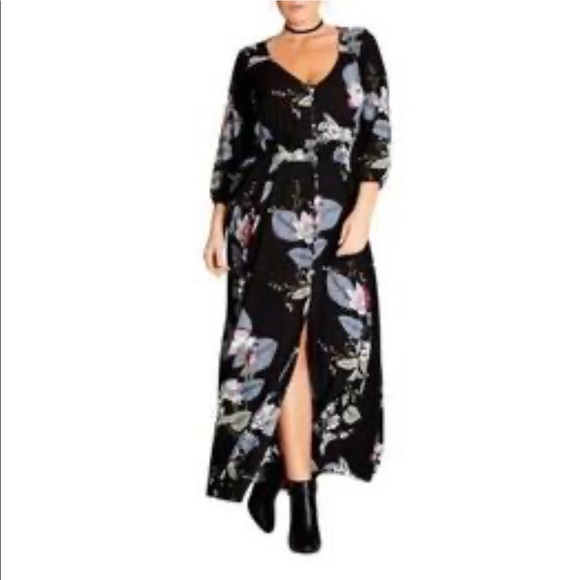 City Chic Dark moody floral maxi dress 18